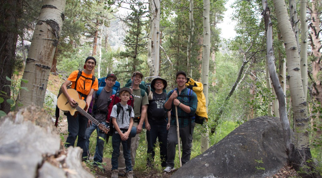 Our backpacking group posing for a picture